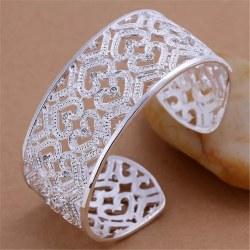 Brett Silver Bangle / Armband med Hjärtan & CZ Kristaller Silver