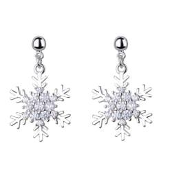 Silver Örhängen till Jul - Snöflinga med Rhinestones / Strass Silver
