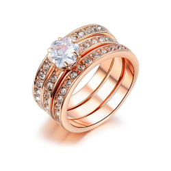 Fin 3i1 Ring - 18K Rosé Guldpläterade - Vit CZ Kristall - Stl 19 Rosa guld