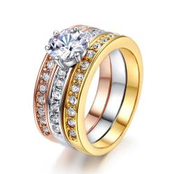 Fin 3i1 Ring- Guldpläterad & Kristaller -Rosé Guld Silver Stl 18 Guld