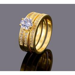 Guld 3i1 Ring - Guldpläterad - Vita CZ Kristaller - Stl 18,2