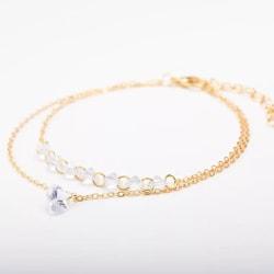 Guld Armband med Glittrande Hjärta & Vita CZ Kristaller / Strass Guld