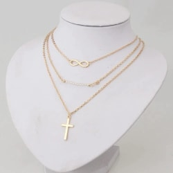 Guld Halsband med 3 st Kedjor - Infinity, Kors & Vita Pärlor Guld