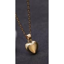 Guld Halsband med Enkelt Hjärta / Heart - Stilren Design  Guld