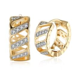 Guld Hoop Örhängen med Vita CZ Kristaller - 18K Guldpläterade Guld