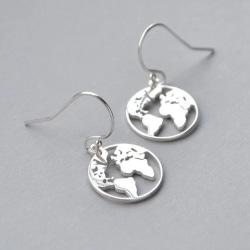 Hängande Silver Örhängen med Världskarta/Världen/Jorden/Jordglob Silver