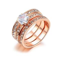 Rosé Guld 3i1 Ring - Guldpläterad - Vita Kristaller - Stl 18,9 Rosa guld