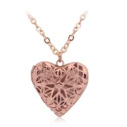 Rosé Guld Halsband med Öppningsbar Medaljong -Hjärta med Stjärna Rosa guld