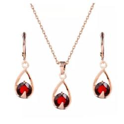 Rosé Guld Smyckesset -Halsband & Örhängen -Droppe & Röd Kristall Röd