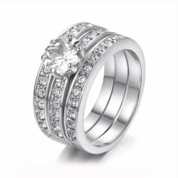 Silver 3i1 Ring - Silverpläterade & Vita Kristaller - Stl 16,5 Silver
