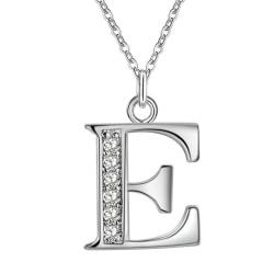 Silver Bokstavshalsband & CZ Kristall - Halsband med Bokstaven E Silver
