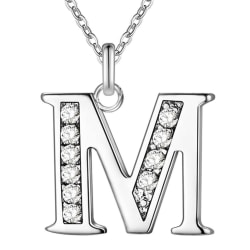 Silver Bokstavshalsband & CZ Kristall - Halsband med Bokstaven M Silver