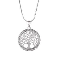 Silver Halsband - Livets Träd med Kristaller - Symbol för Livet Silver