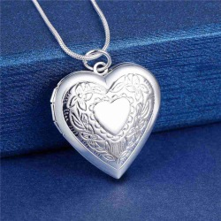 Silver Halsband med Öppningsbar Medaljong -Hjärta i Fint Mönster Silver