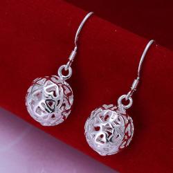 Silver Örhängen - Bollar i Fint ihåligt Mönster med Hjärtan  Silver