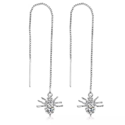 Silver Örhängen - Enkel Kedja med Spindel & Vit CZ Kristall Silver