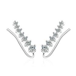 Silver Örhängen med en rad Strass / Stjärnor / Vita Kristaller Silver