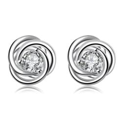 Silver Örhängen - Stud med Glittrande Vit CZ Kristall Silver