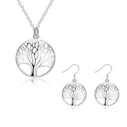 Silver Smyckesset - Halsband & Örhängen - Livets Träd  Silver