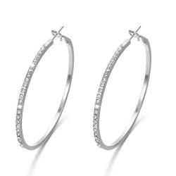 Stora Glittrande Silver Örhängen -Hoop med Strass/CZ Kristaller  Silver
