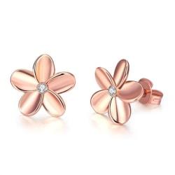 Stud Örhängen - Blomma & Vit Kristall - 18K Rosé Guldpläterade Rosa guld