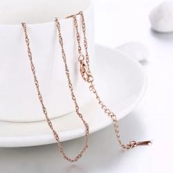 Tunt Fint Rosé Guld Halsband med Tvinnad Kedja - Stilren Design Rosa guld