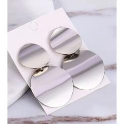 Unika Silver Örhängen - Stilrena Blanka Cirklar / Runda Plattor  Silver