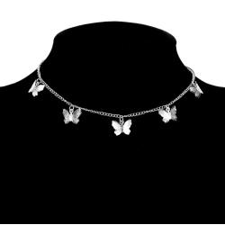 Vackert Silver Halsband Dekorerat med 5 Fina Mönstrade Fjärilar Silver