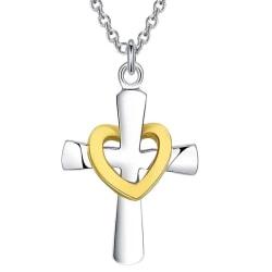 Vackert Silver Halsband - Enkelt Kors med Guld Hjärta  Silver