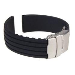 Klockarmband Silicon 18 - 24mm Black 22mm