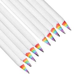 10x Blyertspennor med Regnbågsfärger - Vit Vit