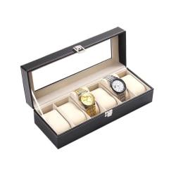 Lyxig Klockbox / Klocklåda för 6 Klockor Svart