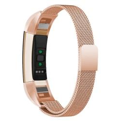 Milanese loop armband kompatibelt med Fitbit Alta HR - Rosé Rosa guld