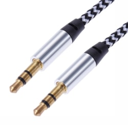 1m Vävd 3.5mm Aux Kabel - Silver Silver