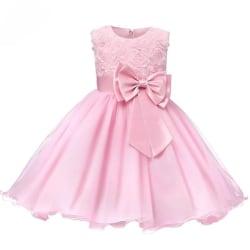 Festklänning med Rosett och Blommor - Rosa (140) Pink 140