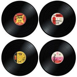 4x Bordstabletter - Vinylskivor multifärg