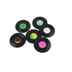 Glasunderlägg - Retro Vinylskiva Svart