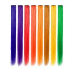 8st Syntetiska Löshår-slingor i olika Färger multifärg