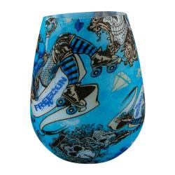 Dricksglas av Silikon med Mönster - Blå Skalle multifärg