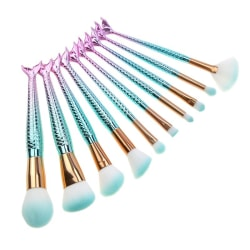 Flerfärgade mermaid sminkborstar multifärg