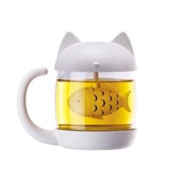 Katt-Tekopp i glas med Fiskformad Tesil Vit