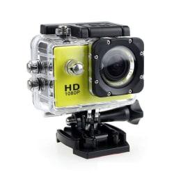 Sports Cam Full HD 1080p/720p - Med tillbehör Gul