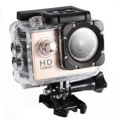 Sports Cam Full HD 1080p/720p - Med tillbehör, Guld Guld