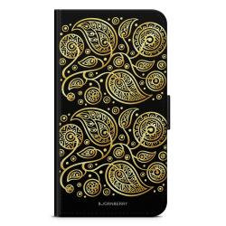 Bjornberry Plånboksfodral Sony Xperia 5 - Guld Blommor