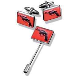Unikt set manchettknappar och slipsnål - Andy Warhol, Pistol röd