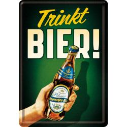 Vykort i plåt - Trikt bier - Ölmotiv
