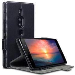 Plånboksfodral Sony Xperia XZ2 PREMIUM Svart Slim Äkta Läder