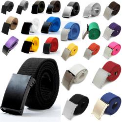 25 bälte i canvas tyg svart eller silver spänne justerbar längd Blått tyg