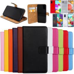 Samsung Galaxy A41/A42/A51/A71 plånbok skal fodral skydd skinn - Svart A42