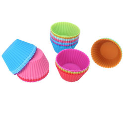 6-pack silikon muffins formar baka kalas bakning fest cupcake - Mixade färger